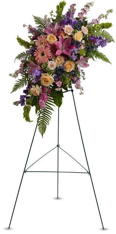 sympathy flowers Toronto, memorial service floral arrangement Markham, heavenly grace standing spray flower arrangement, tribute flowers on easel