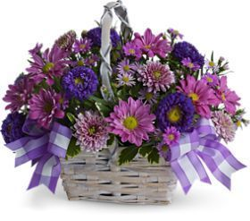 lavender daisy chrysanthemums, Matsumoto asters, lavender cushion spray chrysanthemums, Monte Cassino asters, fresh greenery, summer bouquet