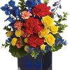 blue flowers, roses, mums, carnations, red, orange, yellow, flowers