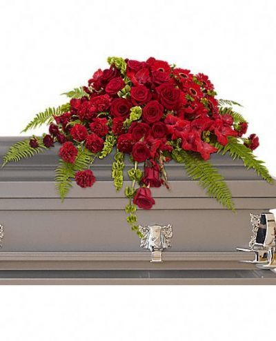 casket spray, funeral arrangements, funeral flowers, red floral funeral arrangement