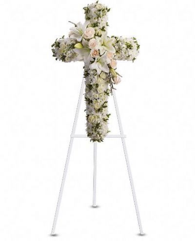 memorial floral cross, white floral cross, tribute floral cross, sympathy flowers Toronto