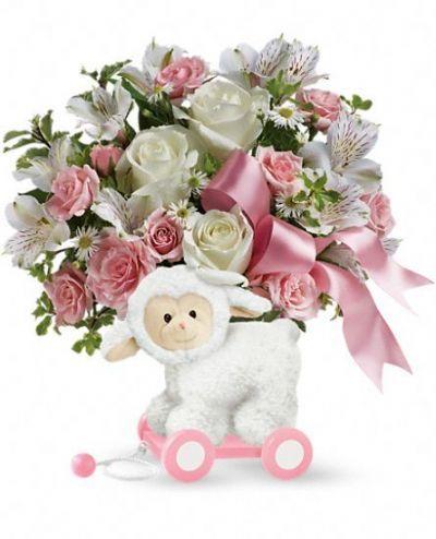 Sweet Little Lamb Bouquet - Baby Pink