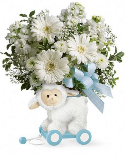 Sweet Little Lamb Bouquet Baby Blue 4165flower Com