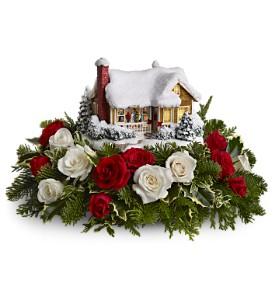 Thomas Kinkade Childhood Home Bouquet